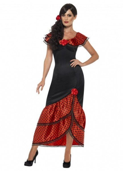 Senorita Costume Mexican Spanish Lady Wild West Womens Ladies Fancy Dress Outfit