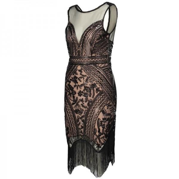 5a0ccedad3ca5 1920s Gatsby Charleston Dress V Neck Sleeveless Sequin Fringe Art ...