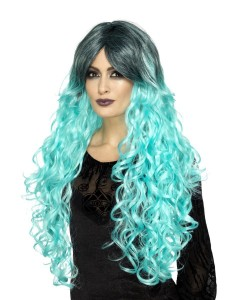 gothic glamour wig teal green 2000x