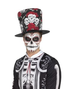 day of the dead skull rose top hat 2000x
